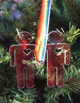 Pride, Love is Love,  personalised Christmas decoration, same sex couple, wedding decorations, LGBT,
