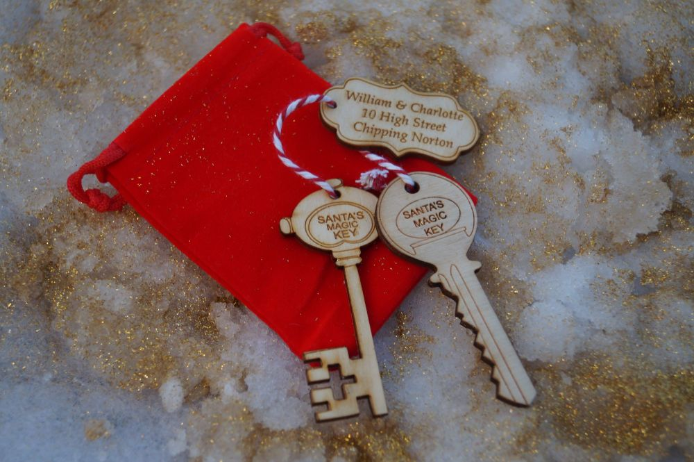 Santa's magic Key with Personalised Tag,  father christmas key, personalise