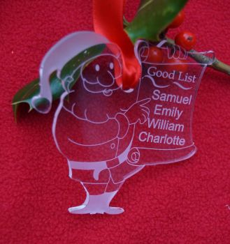 Santa's good list decoration, personalised decoration, Good list, Santas naughty list, Father Christmas