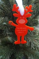 Childrens reindeer personalised Christmas decoration,  rudolph decoration