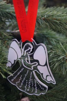 Christmas angel decoration, personalised decoration, memorial, in loving memory