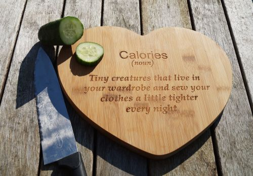 Heart chopping board, calorie board,