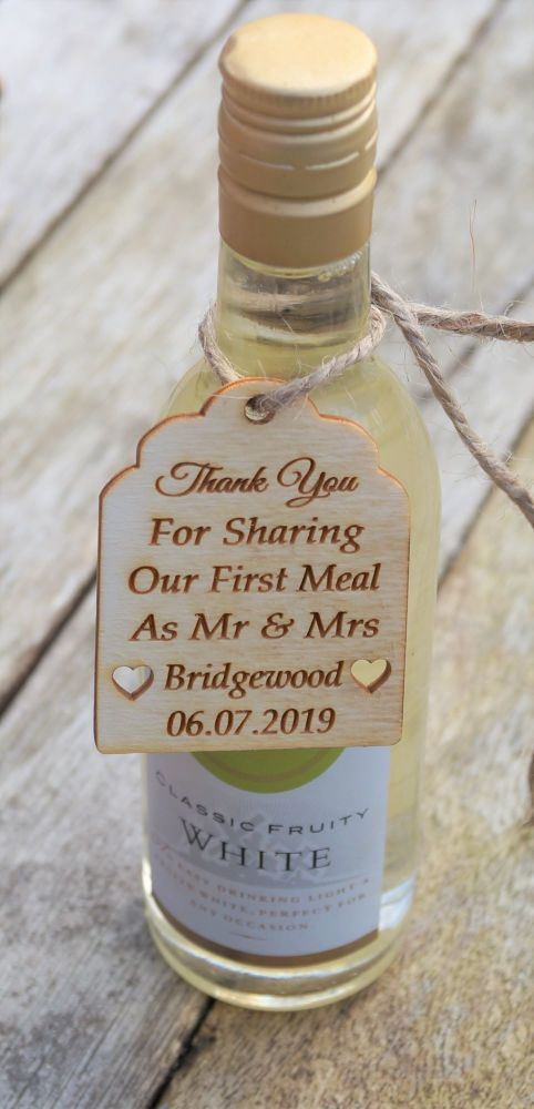 wooden wedding favour tag, wine bottle tag, Thank you for sharing our speci