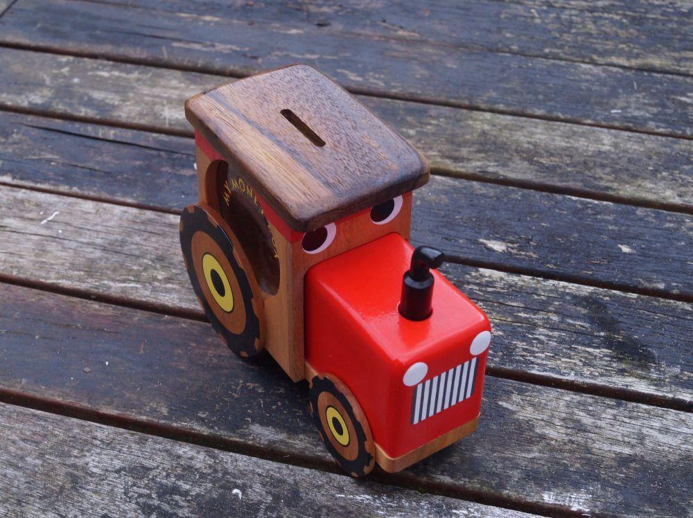 Wooden Tractor Money box