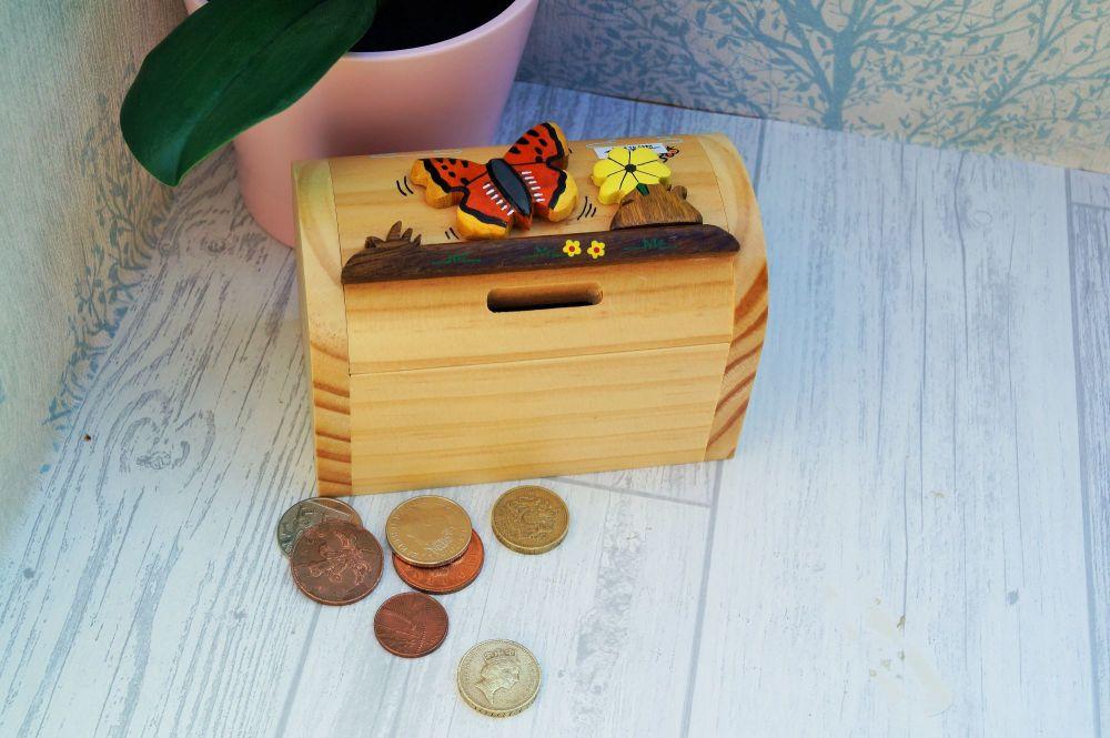 Wooden butterfly moneybox