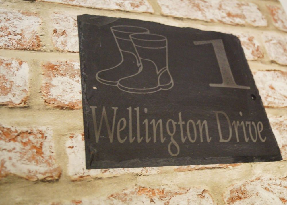 Wellie image slate house sign