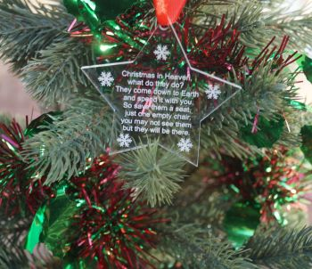 Christmas in heaven star decoration, personalised decoration, memorial, in loving memory, christmas star, personalised christmas decoration