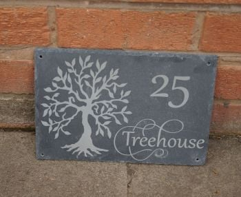 Tree of life Personalised Slate House Sign