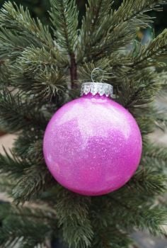 Pink/purple glastic bauble