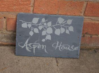 Aspen leaf slate house sign