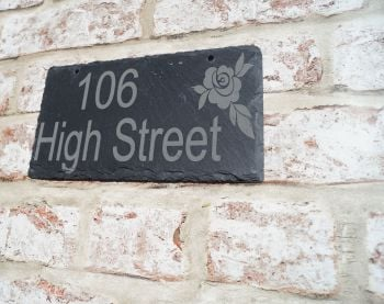Personalised house sign with rose image