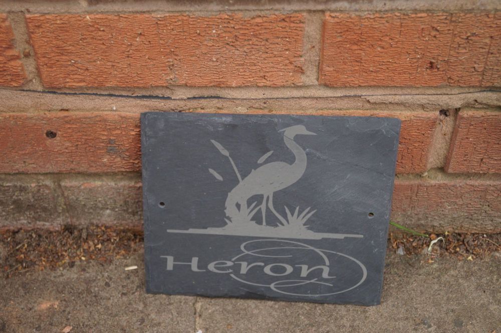 Personalised house sign with heron image