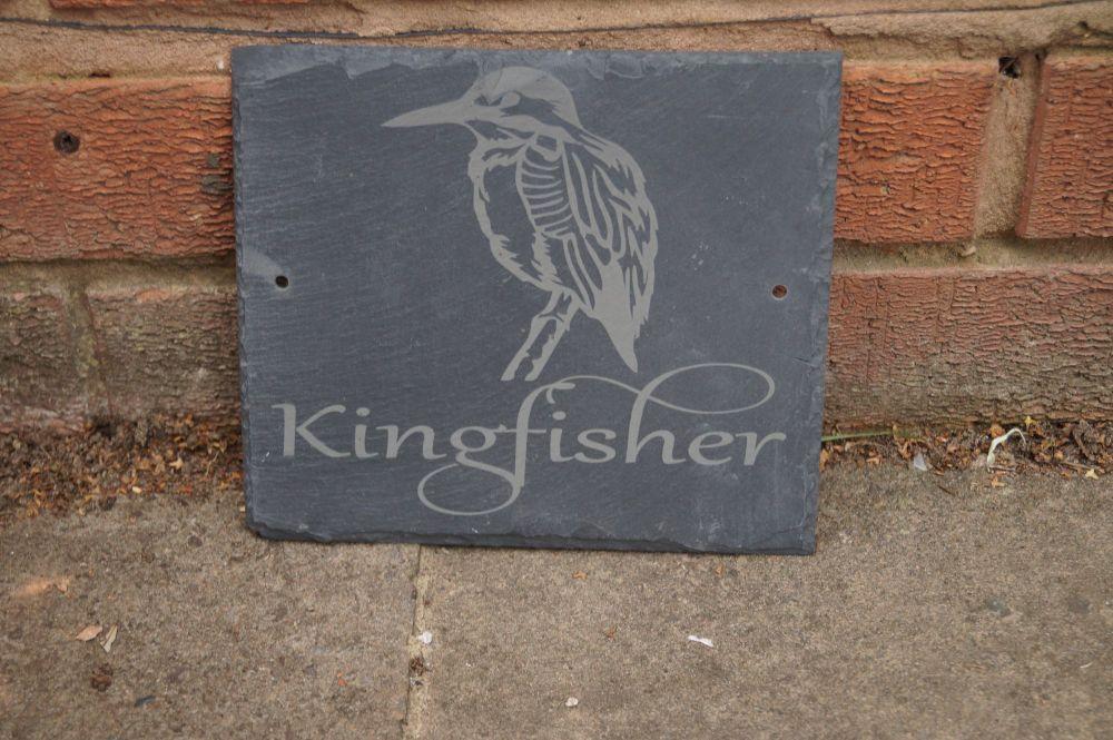 Personalised kingfisher bird house sign