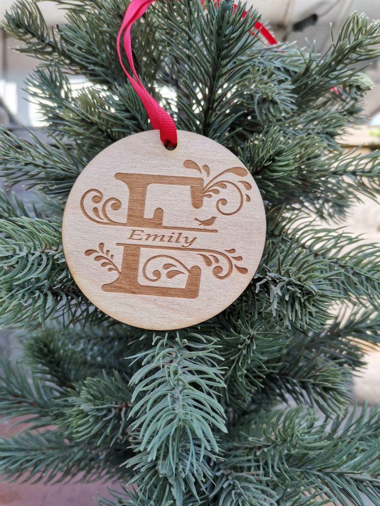 monogram tree decoration, personalized bauble, family decoration, reindeer