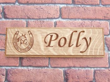 Single Row Carved Oak Stable Sign With Motif