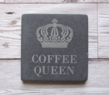 Slate Coaster 'Coffee Queen'
