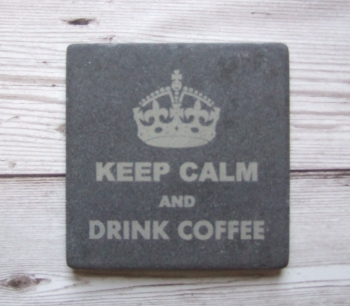 Slate Coaster 'Keep Calm and Drink Coffee'
