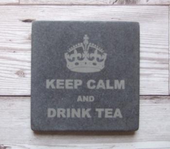Slate Coaster 'Keep Calm and Drink Tea'