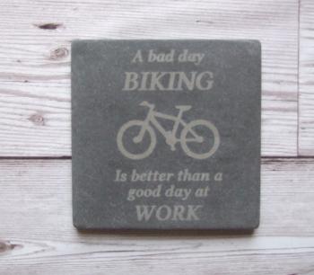 Slate Coaster 'Biking'