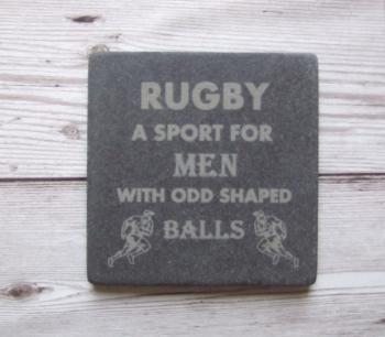 Slate Coaster 'Rugby'