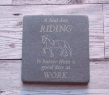 Slate Coaster 'Bad Day Riding'