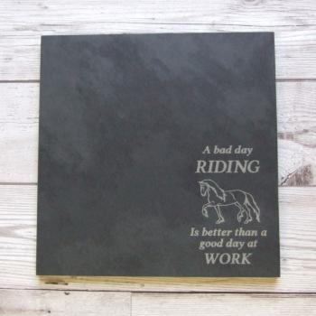 Slate cheeseboard 'Bad Day Riding'