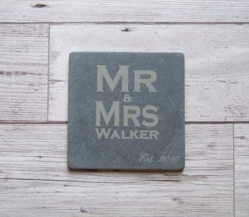 Slate Coasters 'Mr & Mrs'