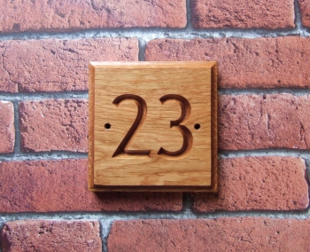 One or Two Digit Carved Oak House Sign