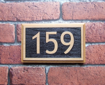 Three Digit Laser Relief Engraved Oak Number Block