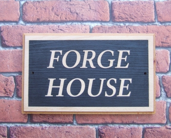 Two or Three Row Laser Relief Engraved Oak House Sign
