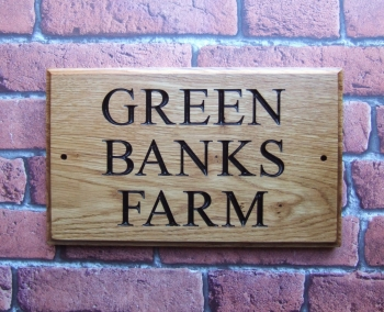 Three Row Carved Oak House Sign