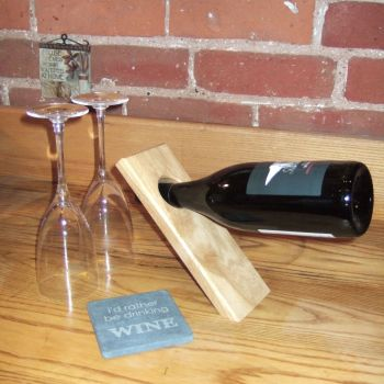 Personalised Balance Wine Stand & Slate Coaster