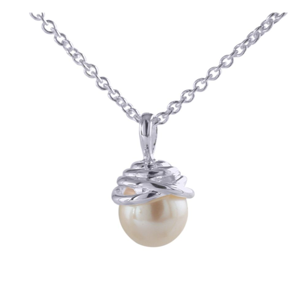 Spiral Pearl Pendant & Chain by JUPP