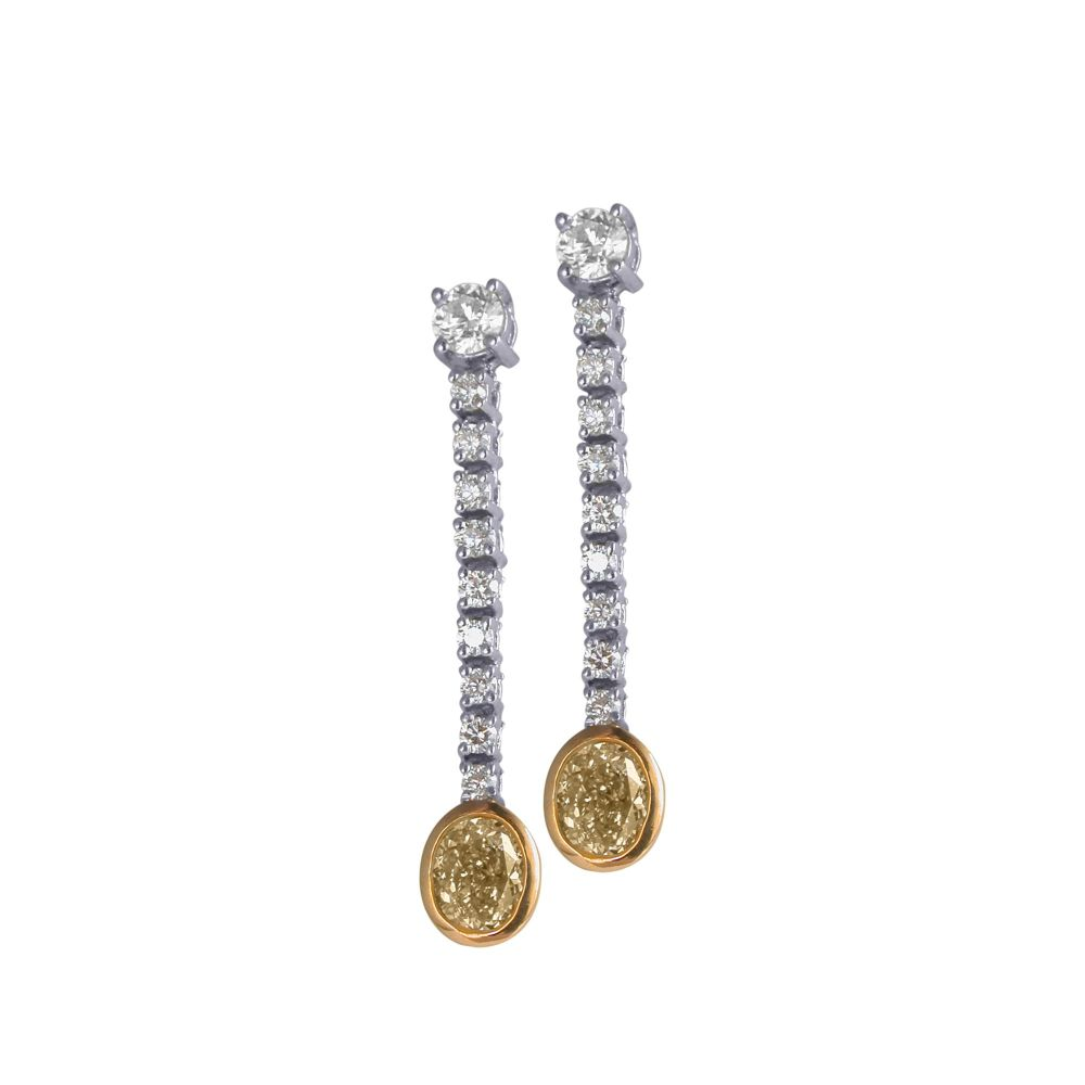 Yellow & White Diamond Drop Earrings by JUPP