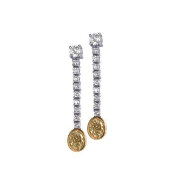 Yellow & White Diamond Drop Earrings by JUPP
