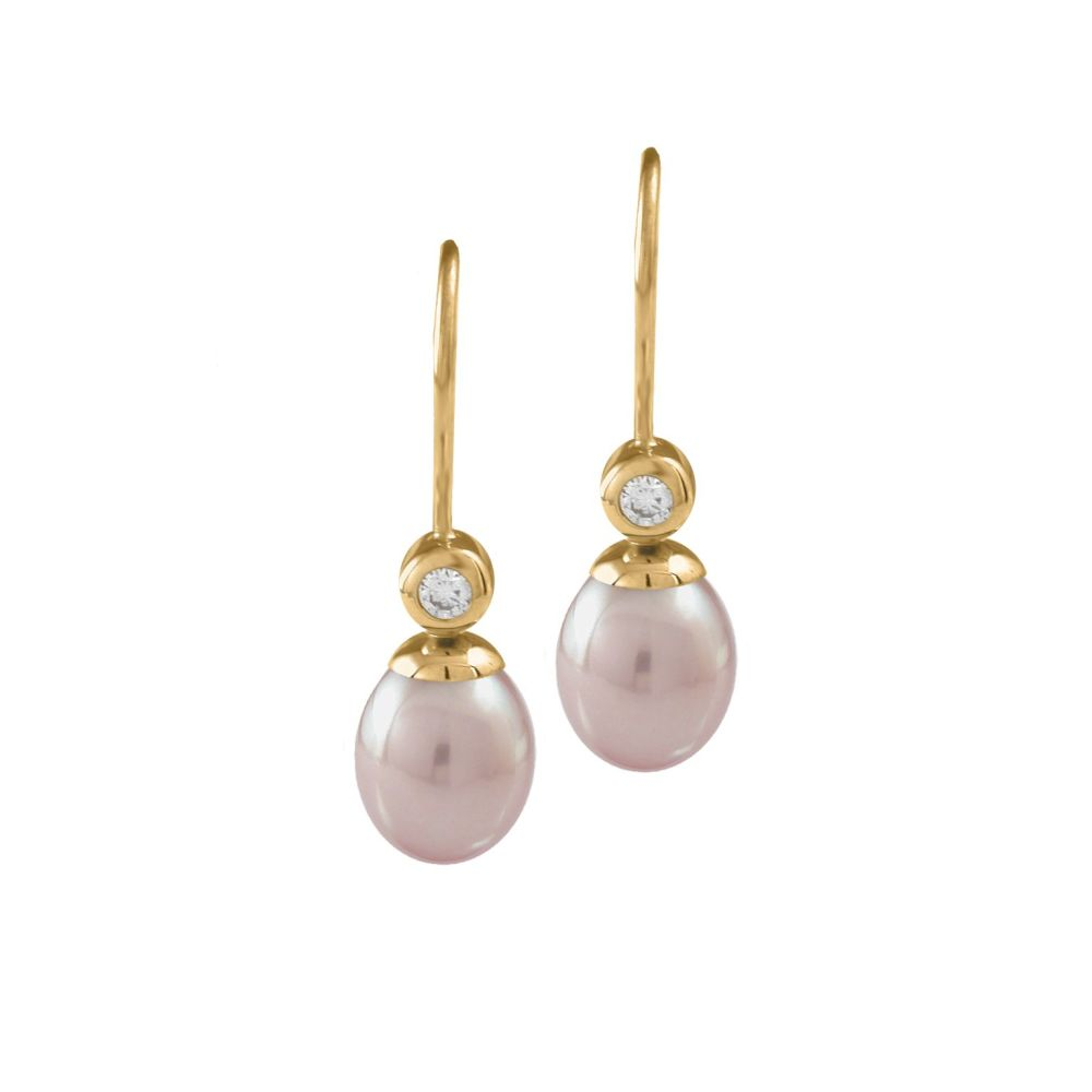 Pink Pearl & Diamond Drop Earrings by JUPP