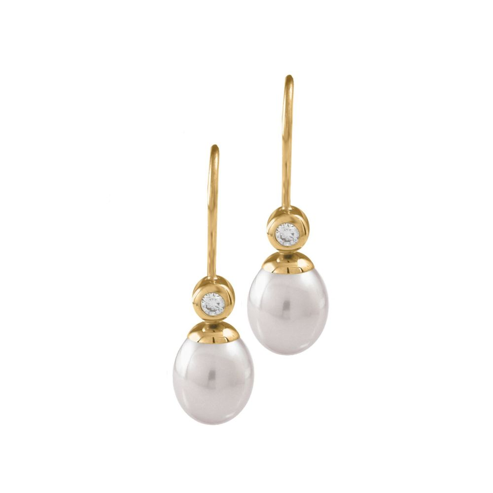 White Pearl & Diamond Drop Earrings by JUPP