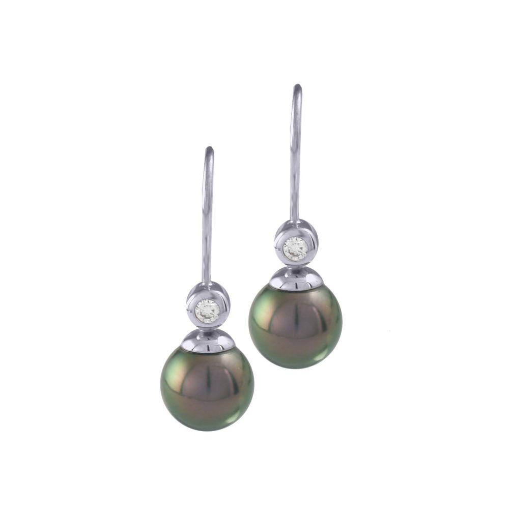 Tahitian Pearl & Diamond Drop Earrings by JUPP