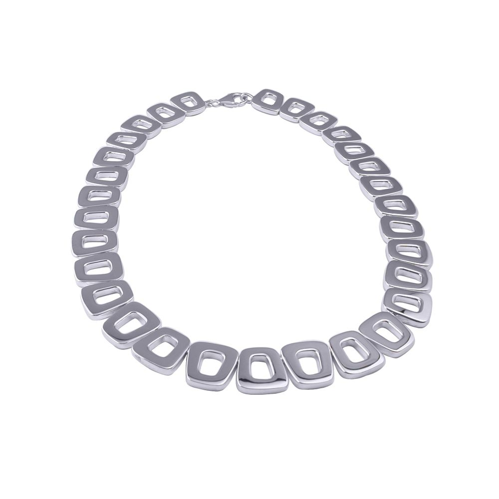 Silver Brick Link Necklace