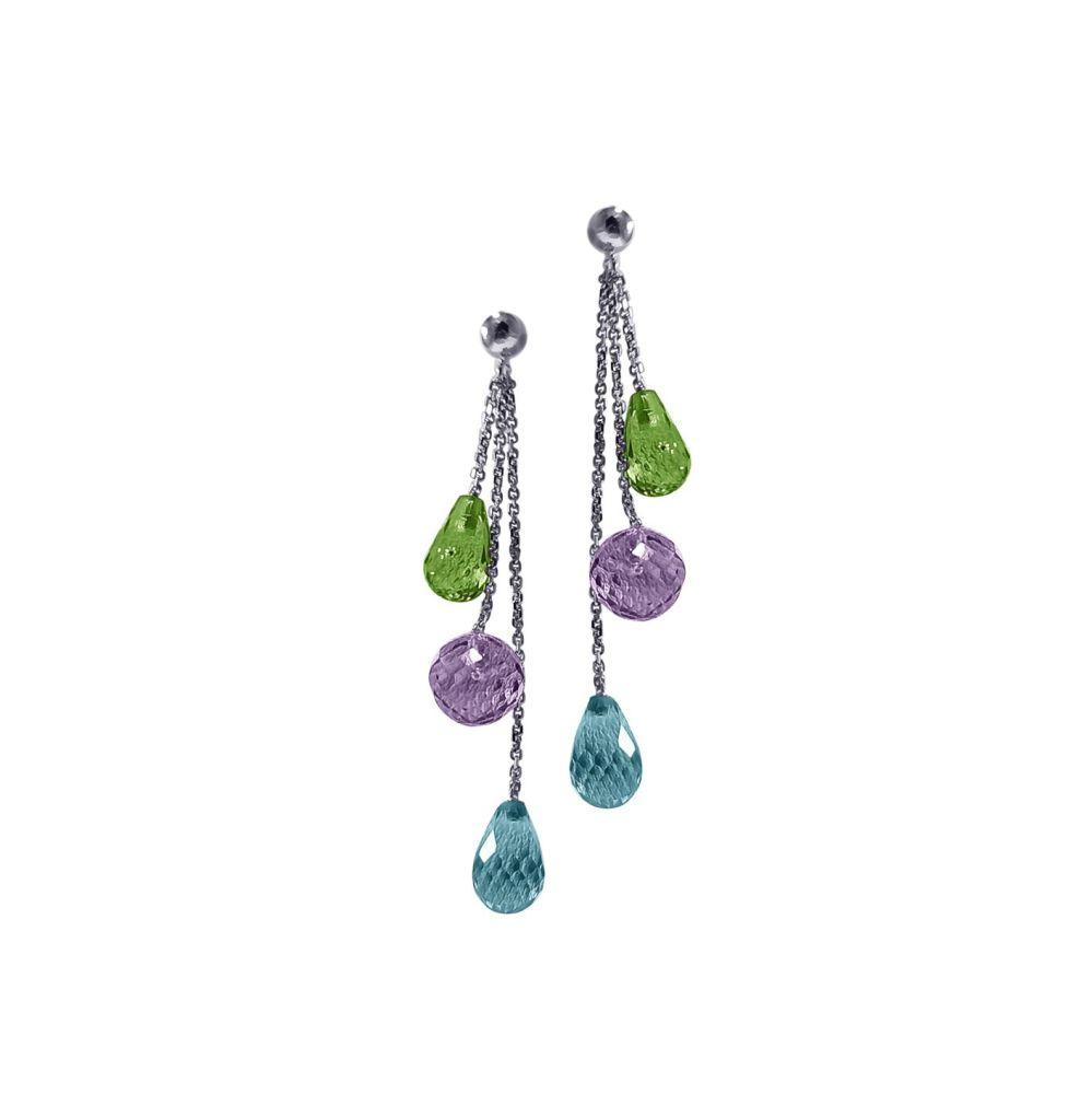 Peridot, Amethyst and Blue Topaz Briolette Drop Earrings by JUPP