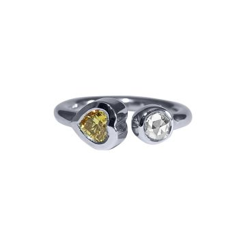 Heart Shaped Yellow Diamond Torque Ring by JUPP