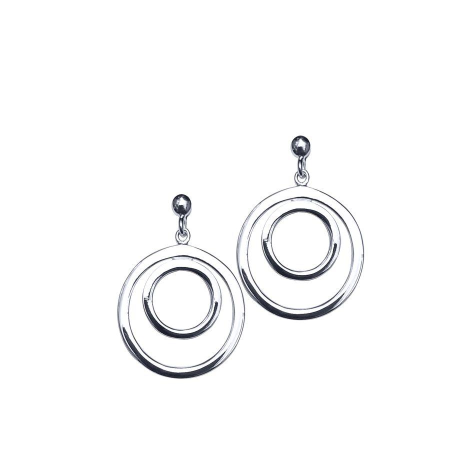 Double Ring Drop Earrings by JUPP