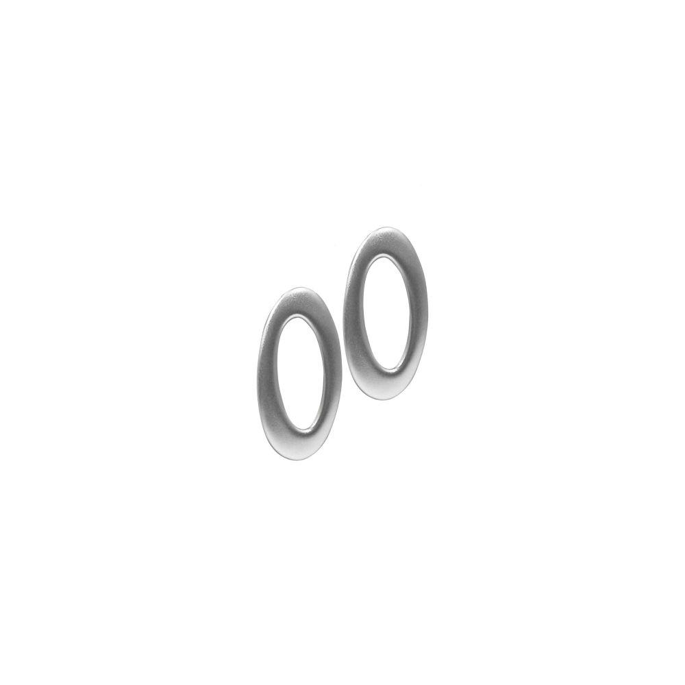 Silver Ovalis Ear Studs by JUPP