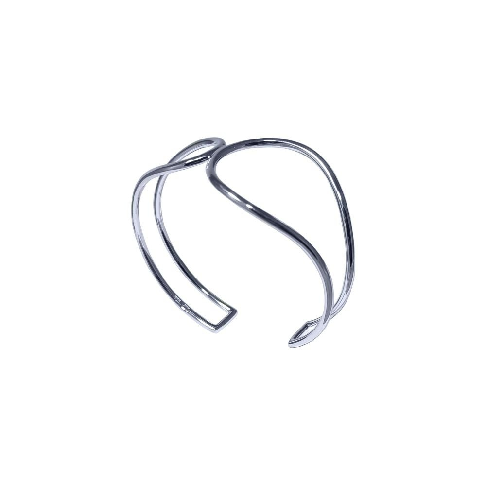 Silver Asymmetric Torque Bangle by JUPP