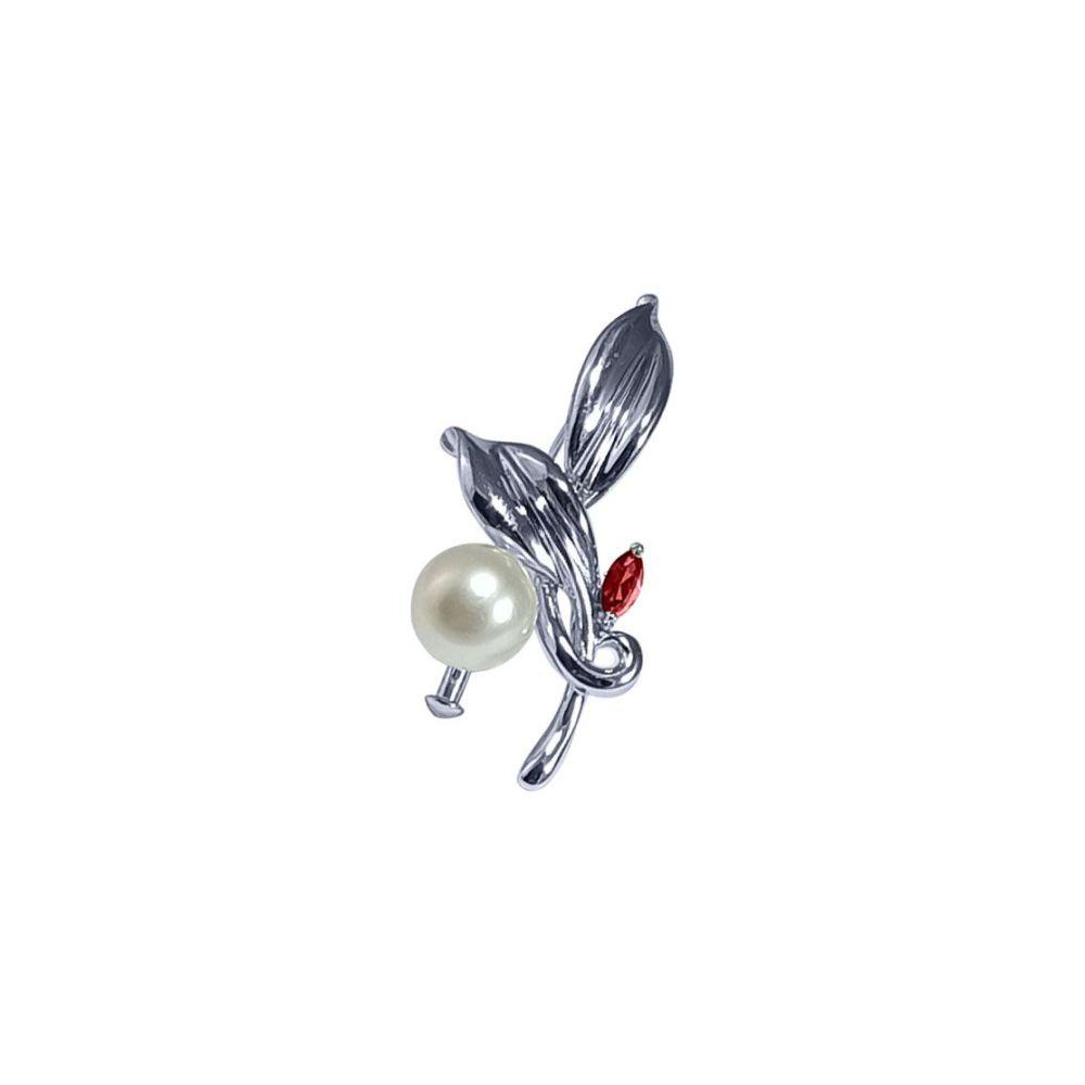 Garnet & Pearl Leaf Brooch