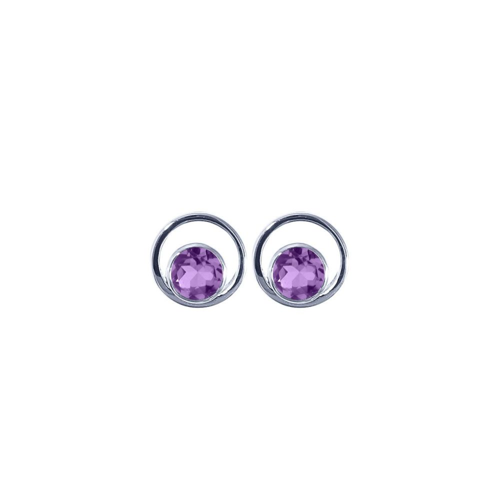Amethyst Saturn Ear Studs by JUPP