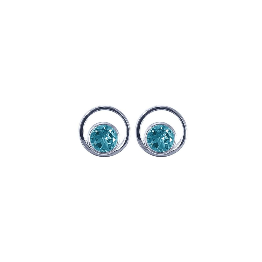 Blue Topaz Saturn Ear Studs by JUPP