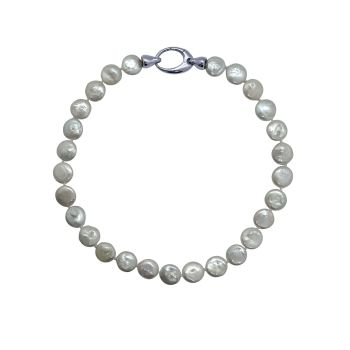White Coin Pearl Necklace by JUPP
