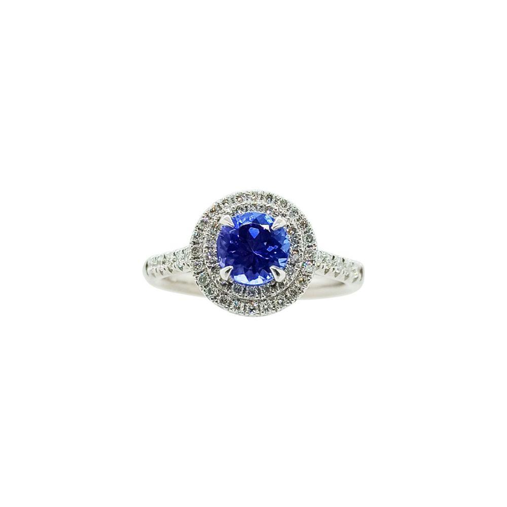 Tanzanite & Diamond Halo Ring .54ct