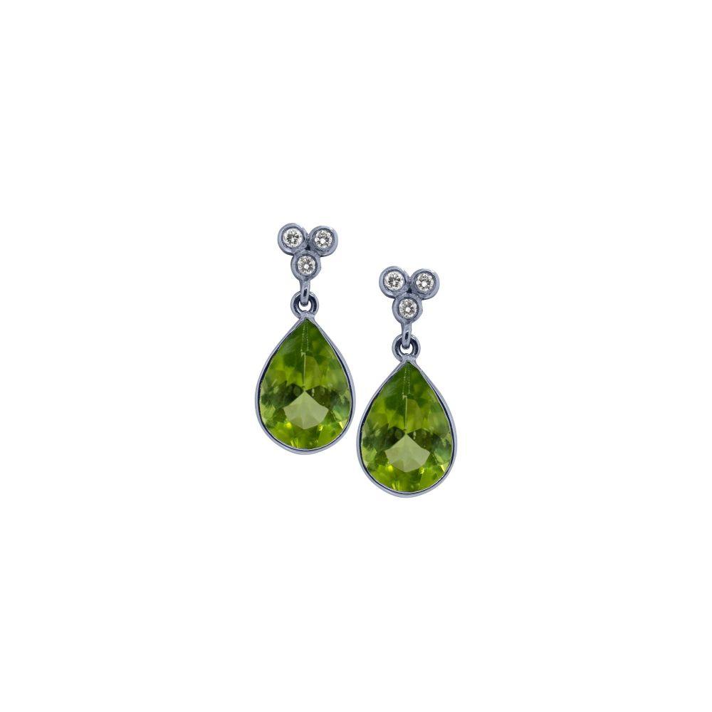 Peridot & Diamond Drop Earrings by JUPP